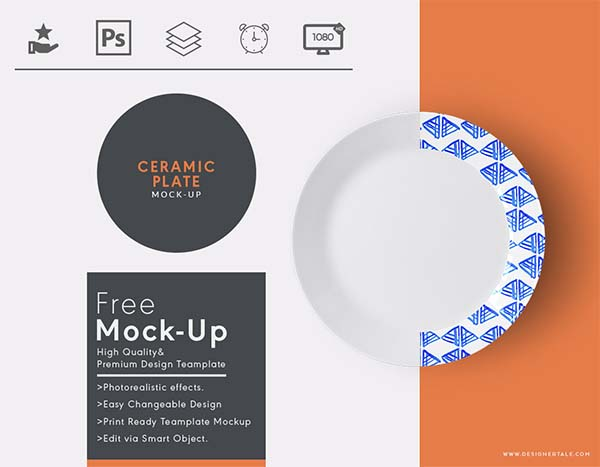 Free Top View Ceramic Plate Mockup