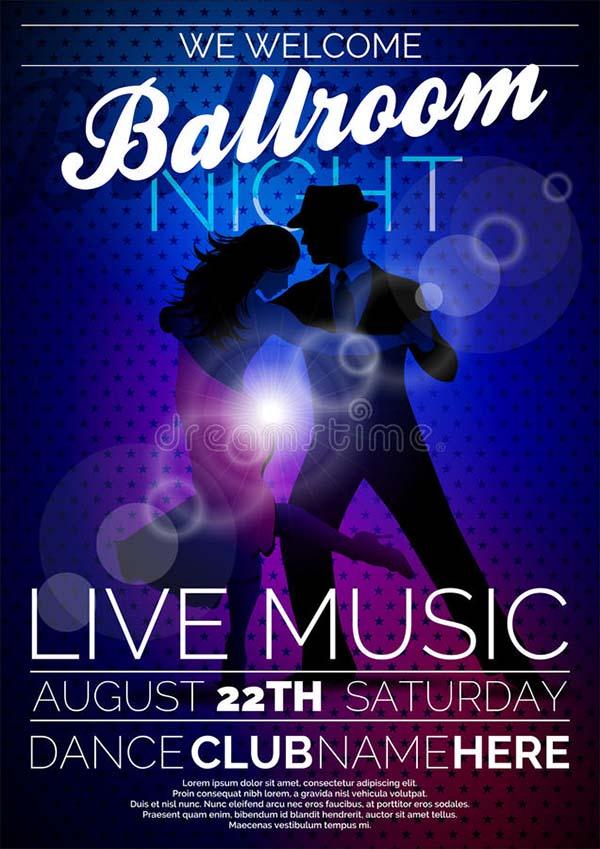 Free Vector Ballroom Night Party Flyer