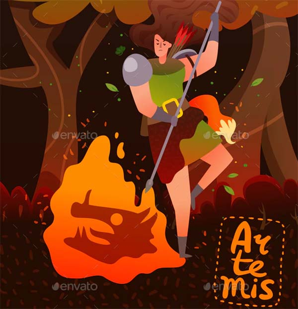 Greece Mythology Cartoon Poster Template