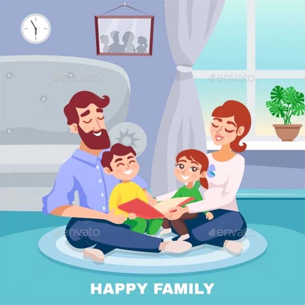 Happy Family Cartoon Poster Template