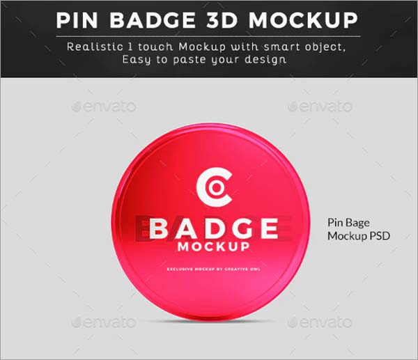 High Quality Pin Badge Mockup