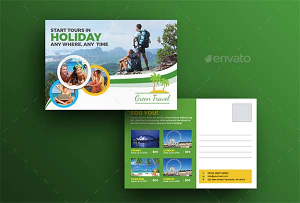 Holiday Tour & Travel Postcard Template