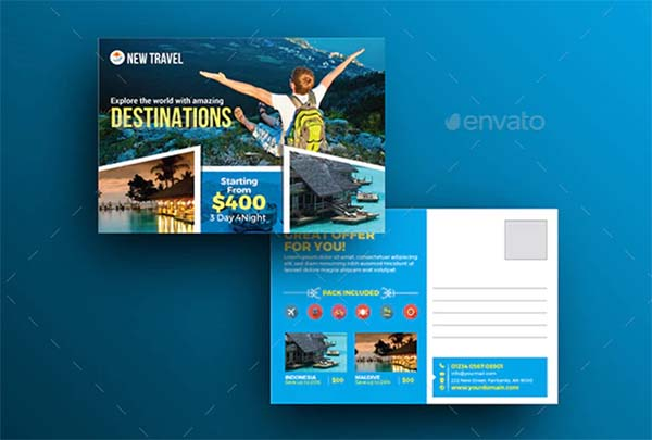 Holiday Travel Tour Postcard Template