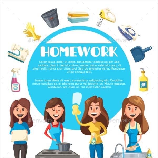 Housekeeping Cartoon Poster Template