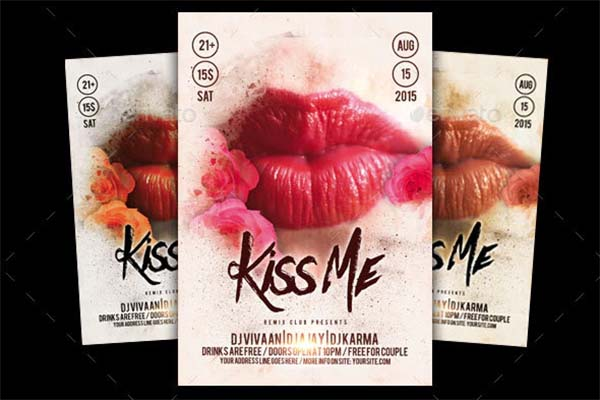 Kiss Me Party Flyer PSD Template