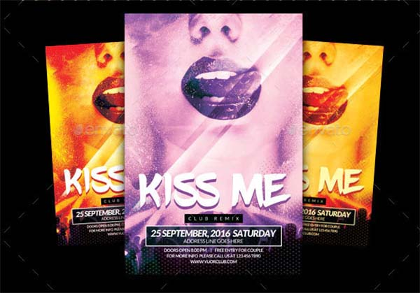 Kiss Me Party Flyer Template