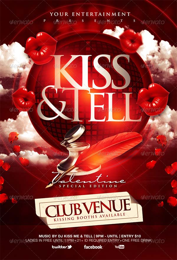 Kiss & Tell Valentine Flyer Template
