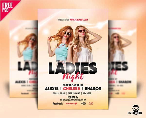 Ladies Night Flyer Design Free PSD