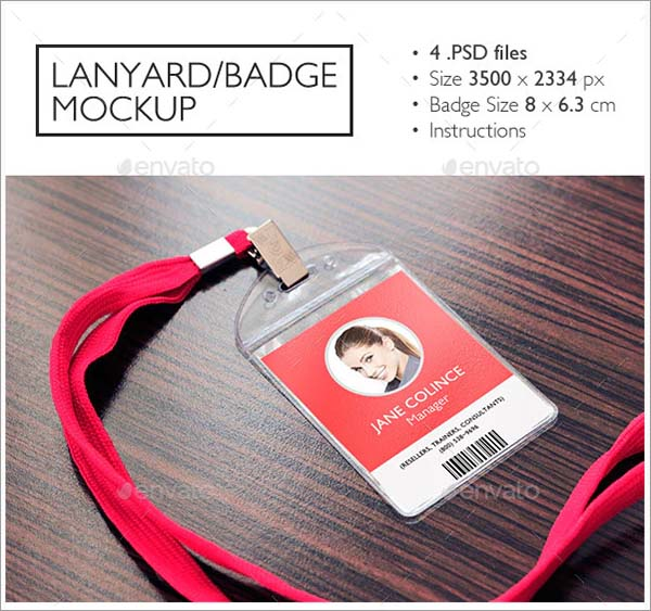 Lanyard PSD Badge Mockup
