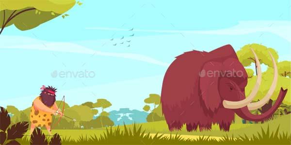 Mammoth Hunt Cartoon Poster Template