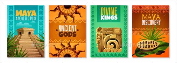 Maya Civilization Cartoon Posters Template