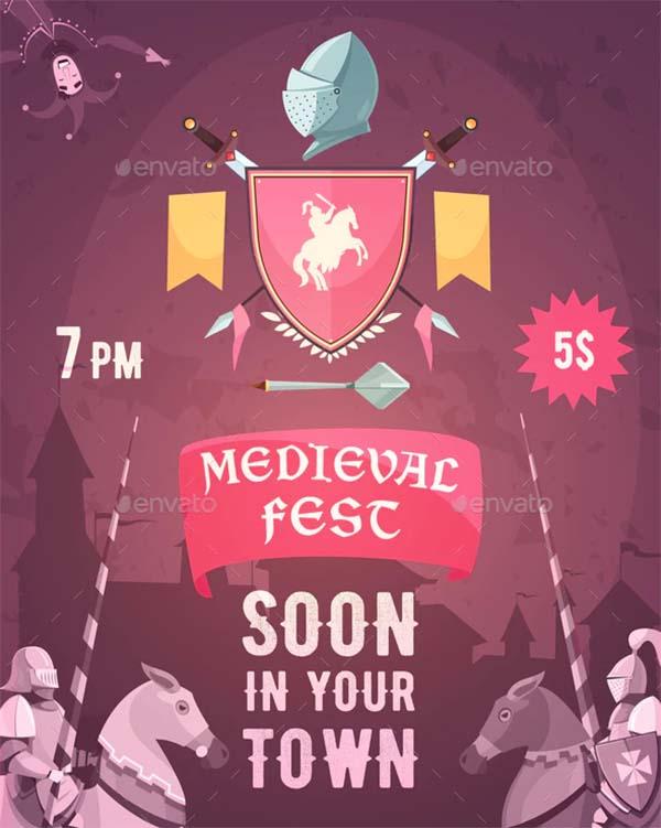 Medieval Fest Announcement Cartoon Poster