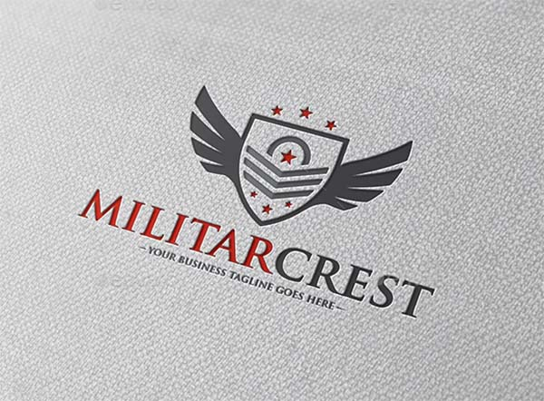 Military Crest Logo PSD Template