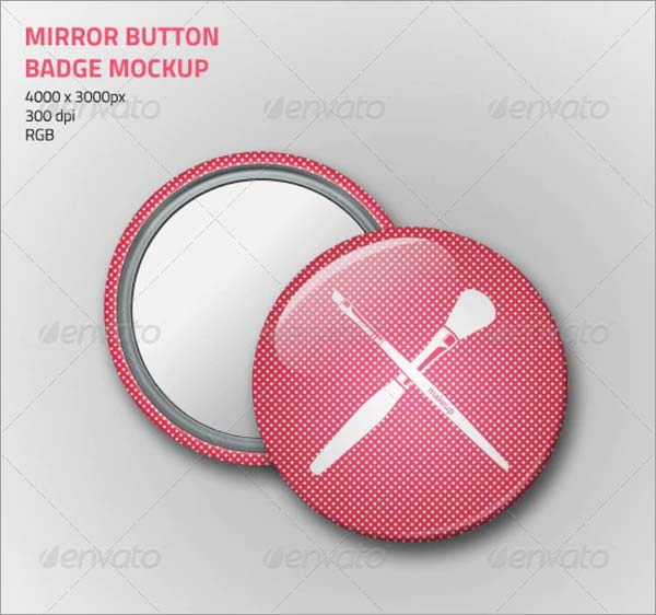 Mirror Button Badge Mockup
