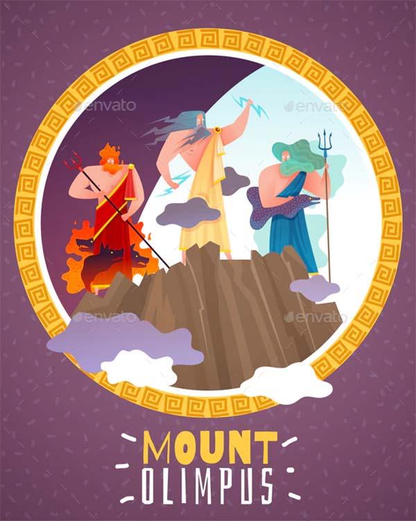 Mount Olimpus Cartoon Poster Template