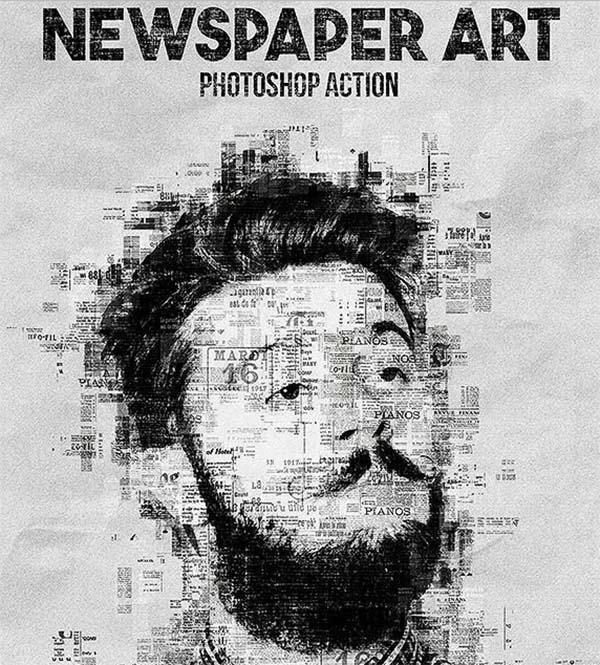 Newspaper Art Photoshop Actions Design