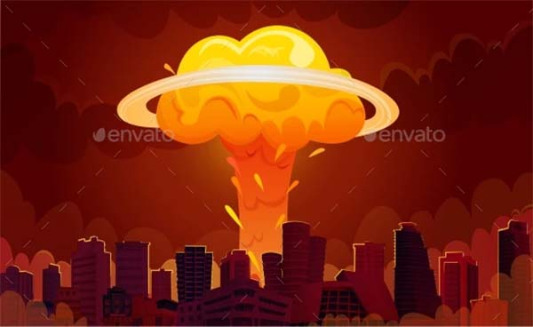 Nuclear Explosion City Cartoon Poster Template