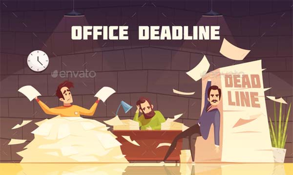 Office Paperwork Deadline Cartoon Poster