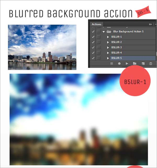 PSD Blur Background Action Set