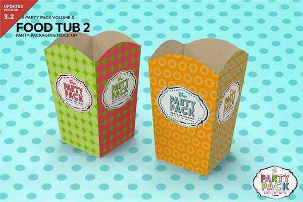 Paper Food Tub Packaging Mockup