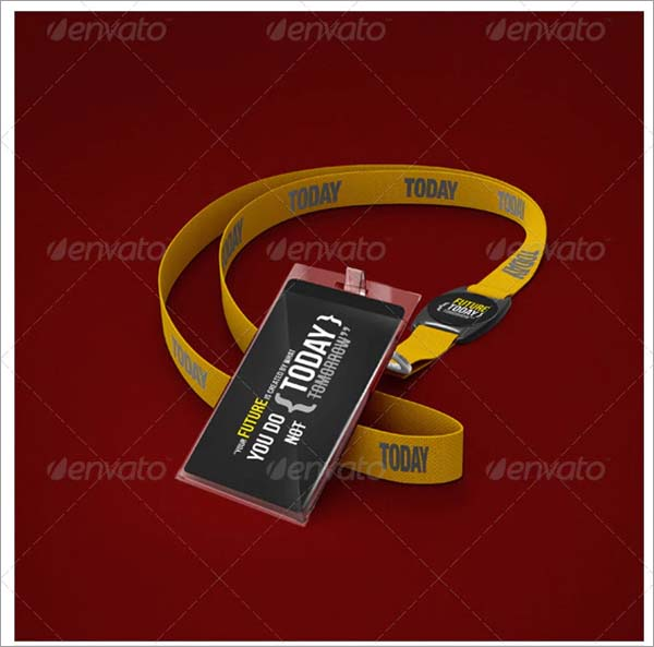 Photorealistic Lanyard Badge Mockup