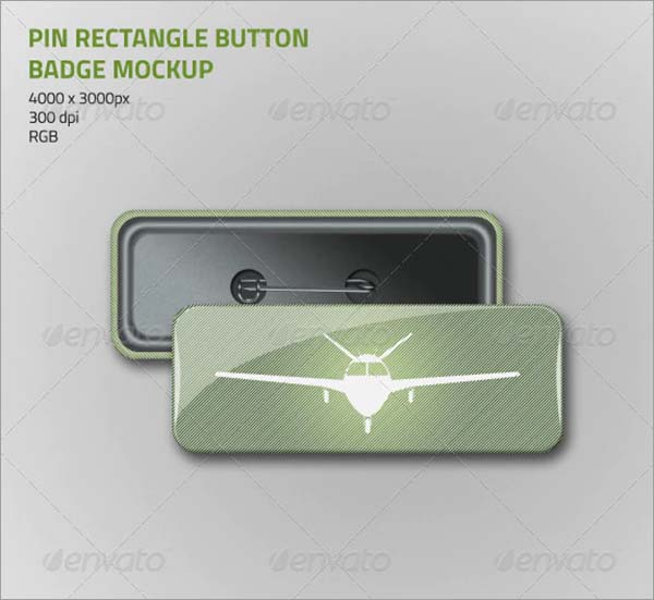 Pin Rectangle Button Badge Mockup