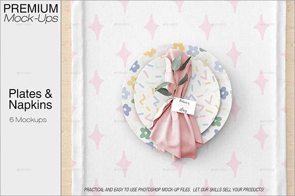 Plates & Tablecloth Set Mockup