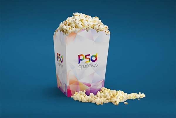 Popcorn Box Mockup Free PSD