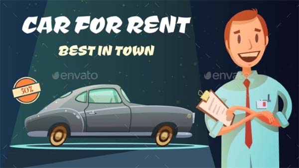 Rental Car Retro Cartoon Poster Template