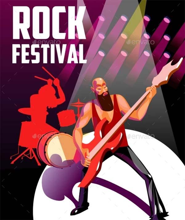 Rock Festival Cartoon Poster Template