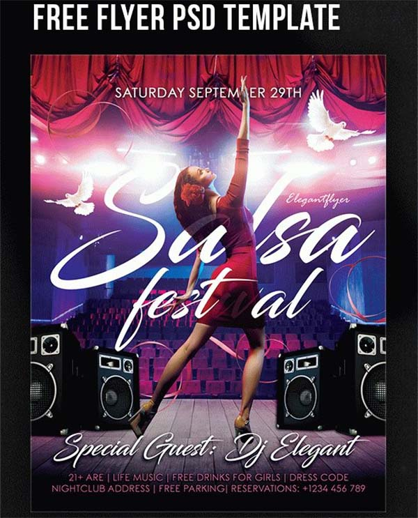 Salsa Festival Free Flyer PSD Template