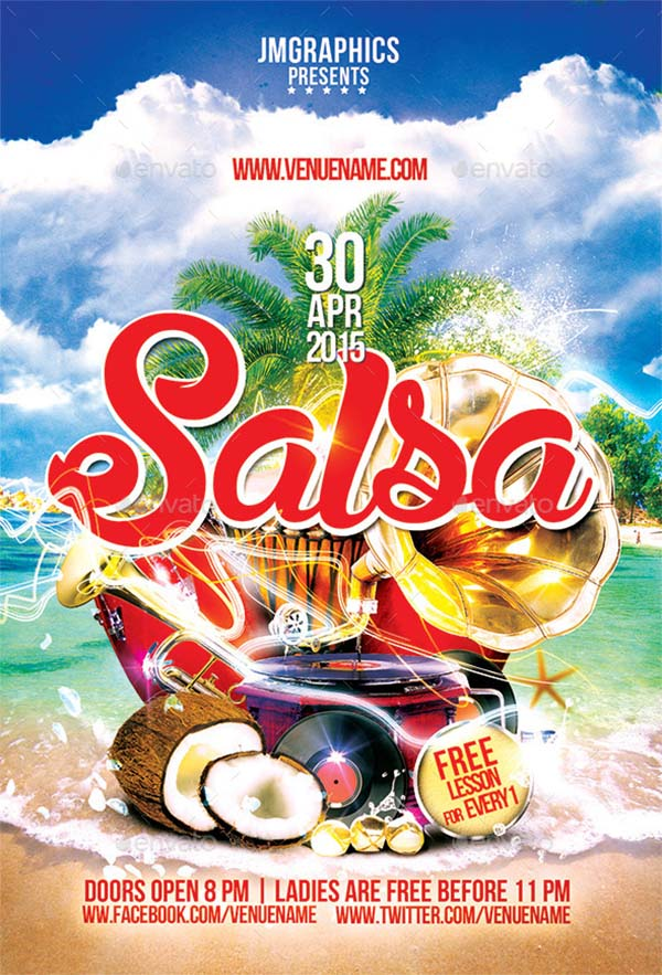 Salsa Flyer PSD Template