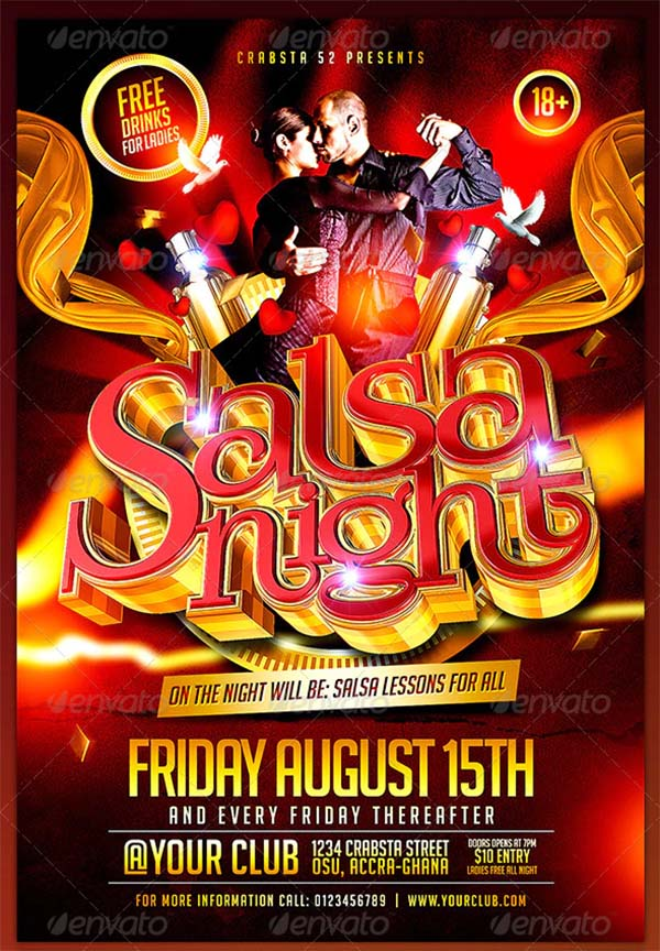 Salsa Night Flyer PSD Template