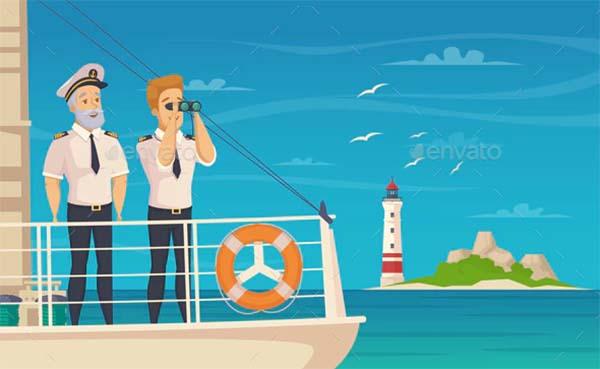 Ship Crew Captain Cartoon Poster Template