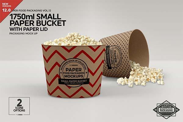 Small Paper Bucket Paper Lid Mockup