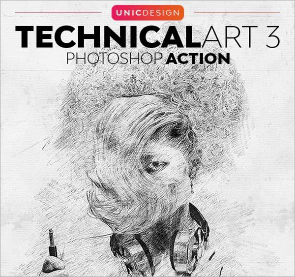 Technical Art 3 Photoshop Action