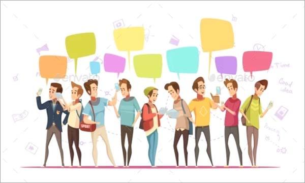 Teenage Boys Online Cartoon Poster Template