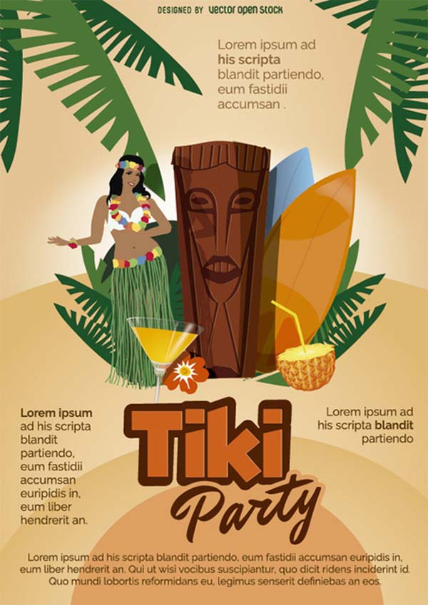 Tiki Party Cartoon Poster Free Vector Template