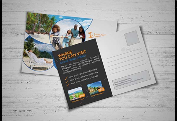 Travel Agency PSD Postcard Template