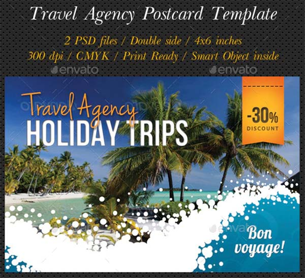 Travel Agency Postcard Template PSD