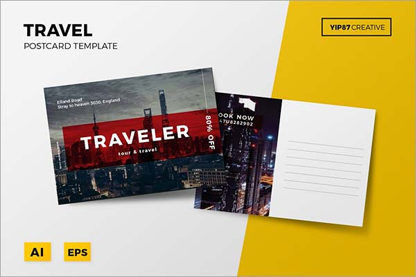 Travel PSD Postcard Design Template