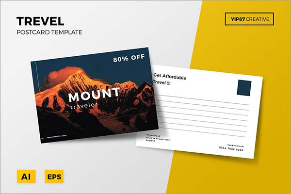 Travel PSD Postcard Template Design