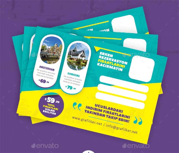 Travel PSD Tours Postcard Templates