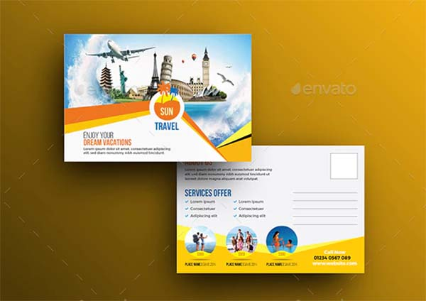 Travel Postcard PSD Template