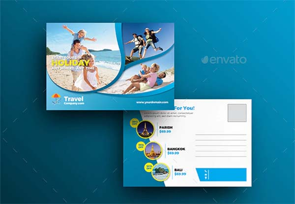Travel Postcard Template Design