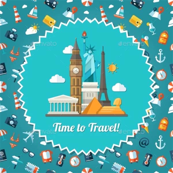 Travel Postcard Vector Template