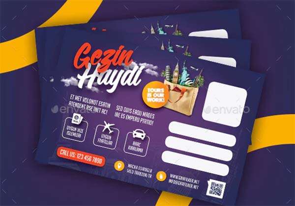 Travel Tours Postcard PSD Templates