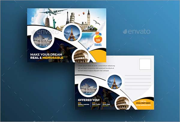 Travel Vector Postcard Template