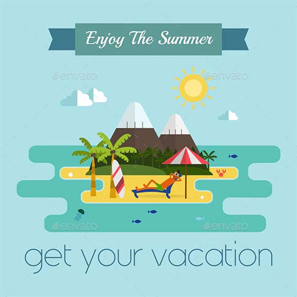 Tropical Island Vacation Travel Postcard