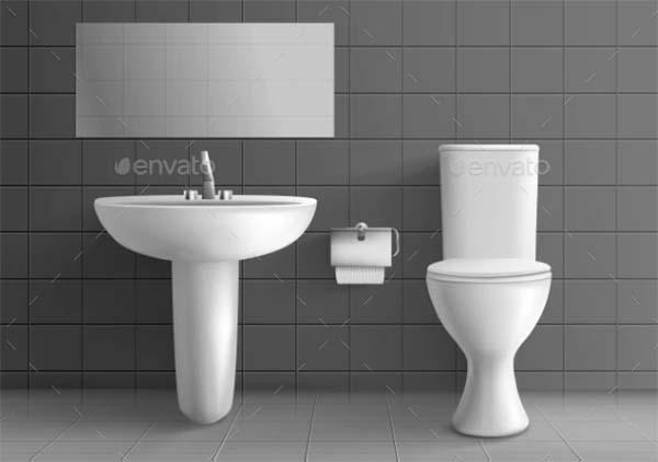 Washbasin Realistic Vector Mockup